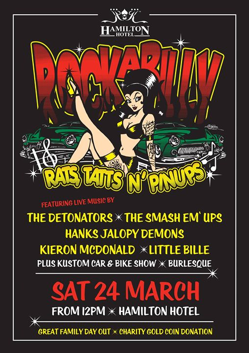 "***RAT'S TATT'S N' PINUP'S - HAMILTON HOTEL -BRISBANE***  For the Very First Time ""Rat's Tatt's n' PinUp's"" is Heading Interstate! Hamilton Hotel - Brisbane, Queensland will be hosting our Hot Rod & Rockabilly Party!!!  Hamilton Hotel's Carpark will be Fully Secured ... Only Allowing:  Hot Rod, Kustoms, Pre'78 Classics and Bike Parking.  *(Carpark Catering - Bars and Food Trucks.)*  Hamilton Hotel Function Rooms will also be Flatout with , Food, Drink, Trade-stands n' Goodtimes!  Plus what we All Come For: ***!!!THE BURLESQUE & ROCKABILLY SHOW!!!***  ***(Trade-stand Applications - Indoors Only - Contact Kylie on:  p: 07 3268 7500 e: kylie.beard@alhgroup.com.au )***  Boasting an Almost Full Interstate Band LineUp...  1200 - 1245 Little Billie (QLD) 0100 - 0145 Little Billie  https://www.facebook.com/littlebilliemusic/ 0200 - 0245 Smash Em Ups (Vic) 0300 - 0345 Smash Em Ups https://www.facebook.com/The-Smash-em-Ups-270913853379006/ 0400 - 0445 Hanks Jalopy Demons (Vic) 0500 - 0545 Hanks Jalopy Demons https://www.facebook.com/HanksJalopyDemons/ 0600 - 0645 Kieron McDonald (Vic) https://www.facebook.com/kmcdonald1950s 0645 - 0700 Burlesque (PG Routine) https://www.facebook.com/bombshellburlesqueacademy/ 0700 - 0745 Kieron McDonald *****(Children Hours Closes)***** 0800 - 0845 Detonators (Vic)  https://www.facebook.com/detonatorsaustralia/ 0900 - 0915 Burlesque (+18 Only Show) https://www.facebook.com/bombshellburlesqueacademy/ 0915 - 1000 Detonators 1000 - 1015 Burlesque (+18 Only Show) https://www.facebook.com/bombshellburlesqueacademy/ Closing of Event.  For more info: Event Page Link: https://www.facebook.com/events/179274359502393/ Hamilton Hotel Link: https://www.facebook.com/hamiltonhotel/ Kingpin Events Social Page (sign up) Link: https://www.facebook.com/groups/2218294771729371/  We don't mass advertise our events,  So Pass on the Good Word!  Donation Entry - Charity Event.  Hosted by Hamilton Hotel Sponsored by ALH Group Kingpin Events"