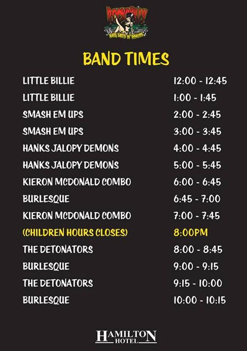 Here is the band schedule.